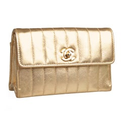 Chanel Quilted Gold Clutch Agneau Metallise
