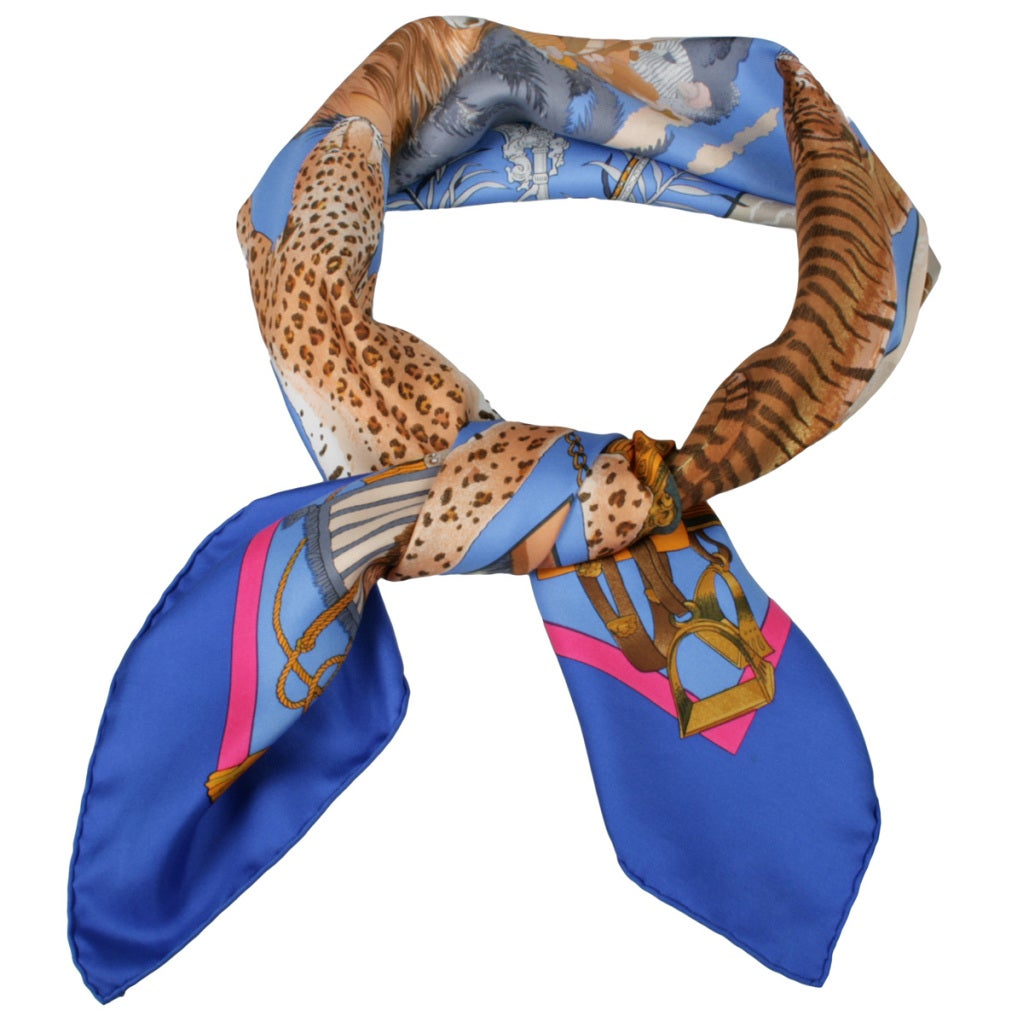vintage hermes quot chasses exotique quot silk scarf at 1stdibs
