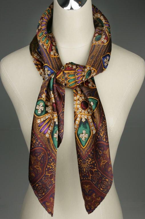 chanel scarf of jeweled brooches in tones for sale