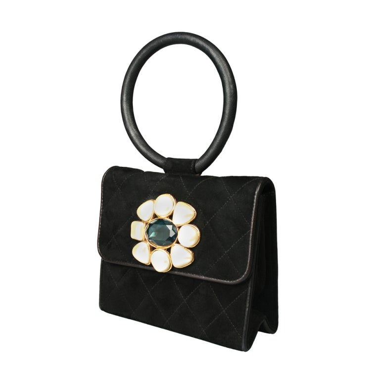 beautiful chanel suede evening bag with pearls and jewell