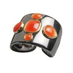Robert Goossens Bracelet with Coral Poured Glass Jewells