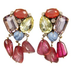 Vintage Iradj Moini Glass, Stones and Rhinestone Dangle Earrings