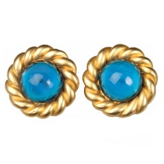 Large CHANEL Blue Poured Glass Earrings