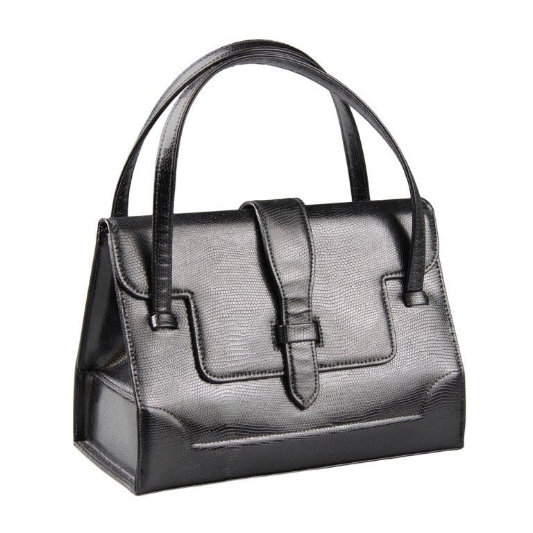 French Black Lizard \u0026quot;Doctors\u0026quot; Handbag for Saks Fifth Avenue For ...