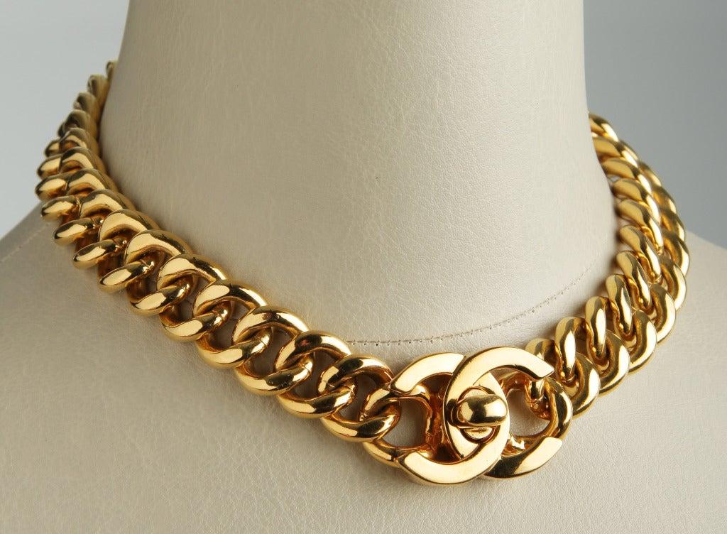 large gold toned chanel logo link necklace at 1stdibs