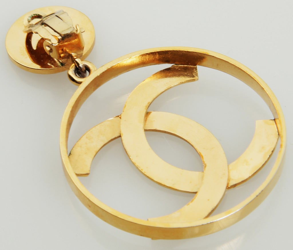 Large Chanel Logo Hoop Earrings At 1stdibs