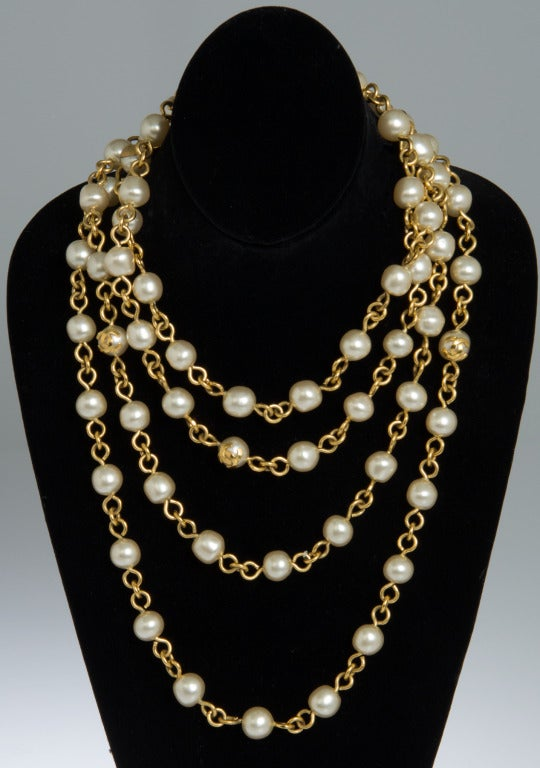 chanel pearl sautoir necklace at 1stdibs