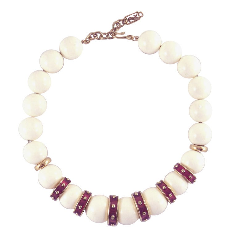 yves laurent chunky bead necklace at 1stdibs