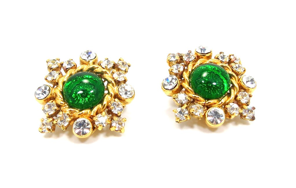 Chanel Gilt Frame Poured Green Glass and Paste Earrings 2