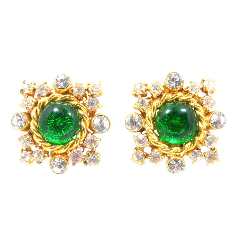 Chanel Gilt Frame Poured Green Glass and Paste Earrings 1