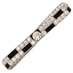 CARTIER Art Deco Onyx and Diamond Bar Brooch