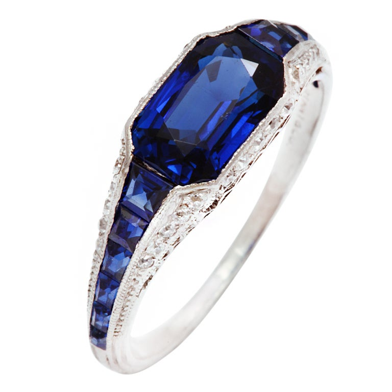Art Deco Tiffany Sapphire Diamond Platinum Ring At 1stdibs