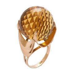 1960s Faceted Spherical Citrine Ring