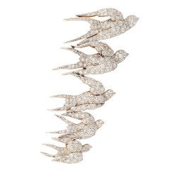 Edwardian Diamond Flock of Swallows Pin