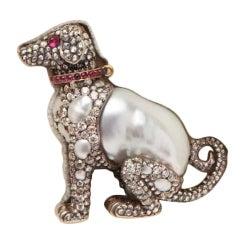 Russian  Diamond Pearl Ruby Collared Puppy Pin