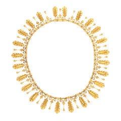 Eugène Fontenay Etruscan Revival Gold Fringe Antique Necklace