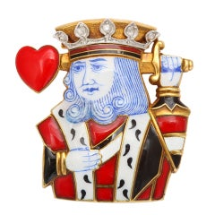 Cartier Art  Deco Enamel King of Hearts Clip thumbnail 1