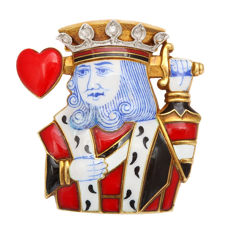 Cartier Art  Deco Enamel King of Hearts Clip