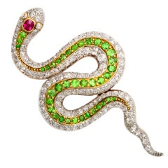 American Victorian Jeweled Snake Brooch