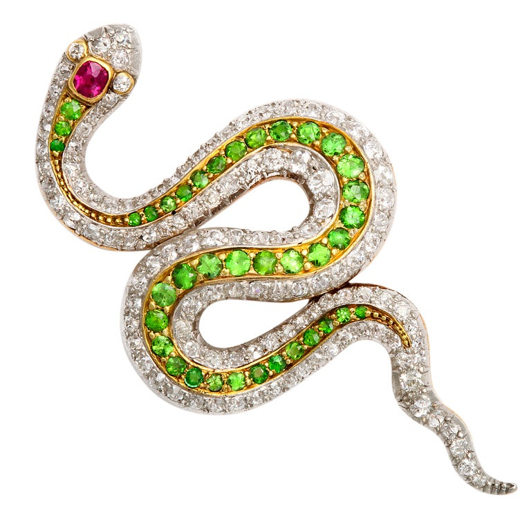 American Victorian Jeweled Snake Brooch at 1stdibs