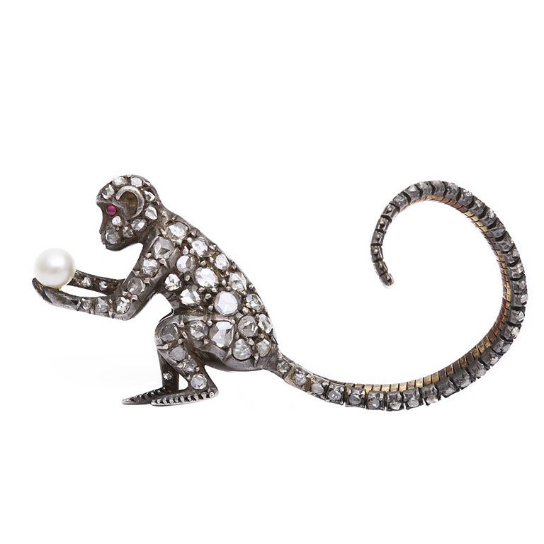 Victorian Diamond Monkey Brooch At 1stdibs