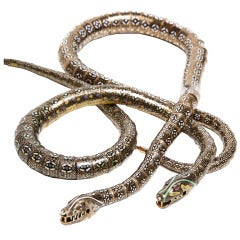 Magnificent Rare 1840s Swiss Enamel Gold Articulated Snake Necklaces
