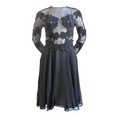 Black silk dres with lace embroidered appliques