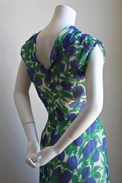 1950's BONWIT TELLER vibrant floral silk dress 3