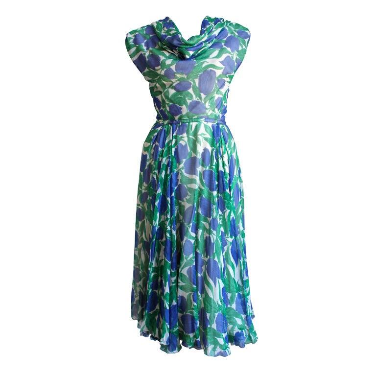 1950's BONWIT TELLER vibrant floral silk dress 1
