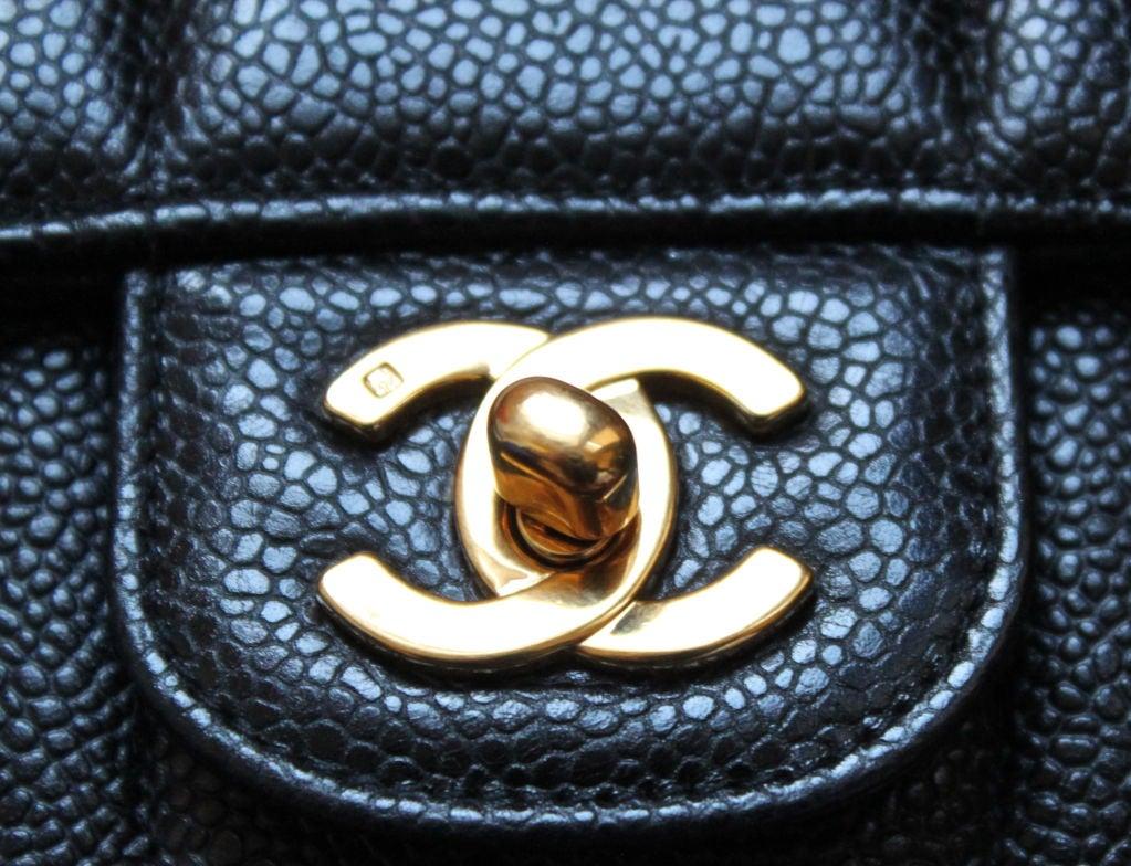 CHANEL black caviar Mademoiselle flap bag with gilt chain 3