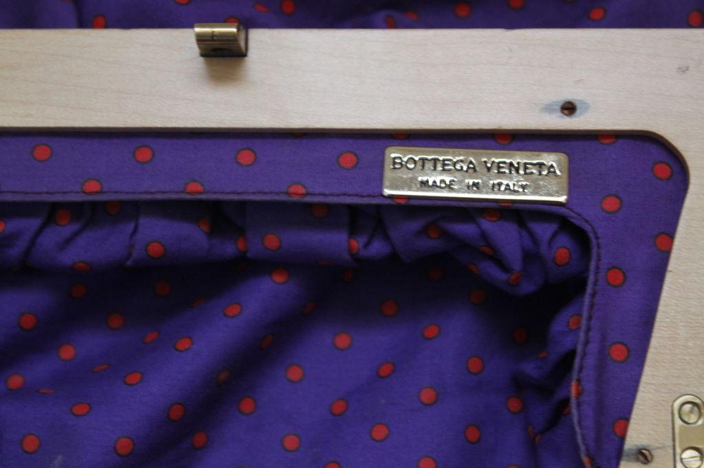 1980's BOTTEGA VENETA purple cotton cluth with wood frame 2