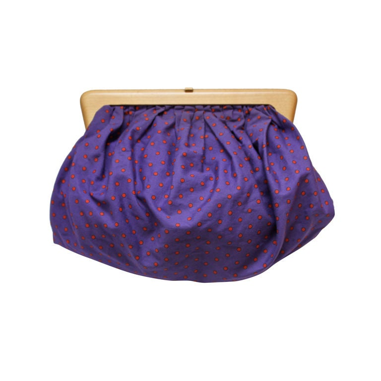 1980's BOTTEGA VENETA purple cotton cluth with wood frame 1