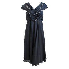 unworn LA PERLA black silk dress with beaded neckline