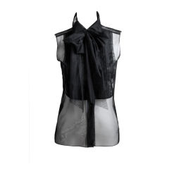 CHANEL black tulle tuxedo blouse with bow
