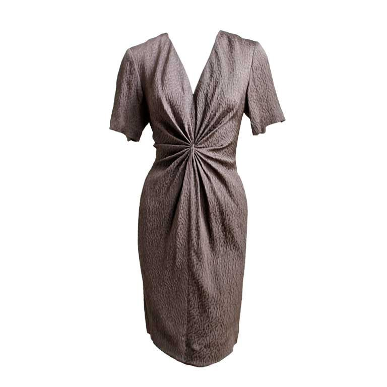 ANDRE LAUG taupe silk dress with gathered waist 1