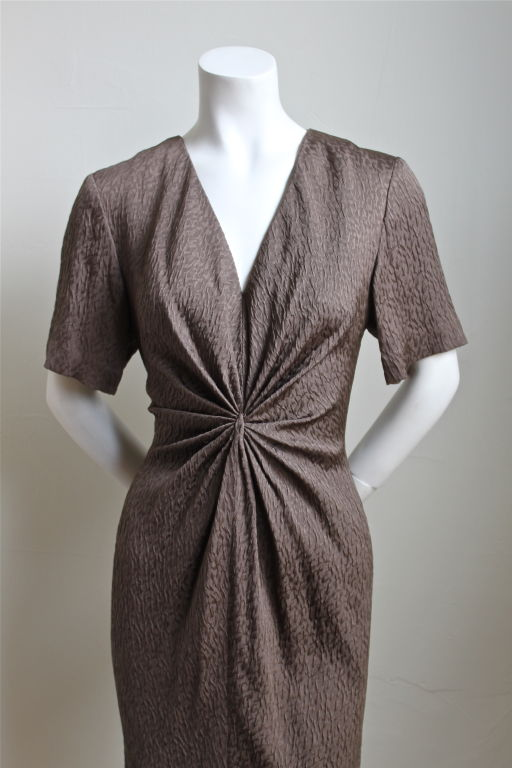 ANDRE LAUG taupe silk dress with gathered waist 2