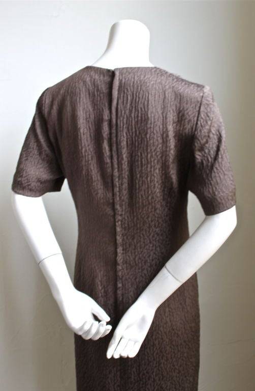 ANDRE LAUG taupe silk dress with gathered waist 3