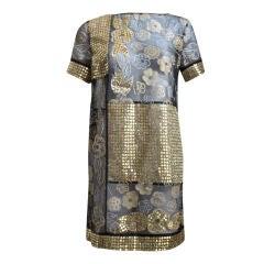 ZANDRA RHODES silk metallic mini dress