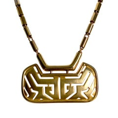 1960's PIERRE CARDIN gilt modernist necklace