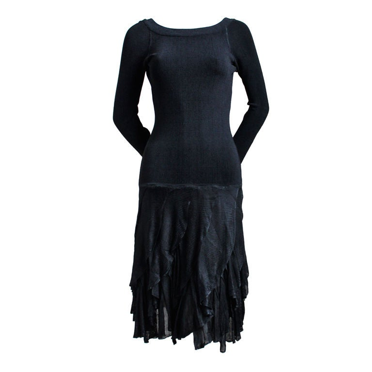 1980's AZZEDINE ALAIA black dress with open back & ruffled skirt 1