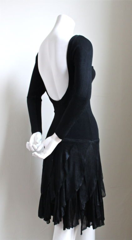 1980's AZZEDINE ALAIA black dress with open back & ruffled skirt 3