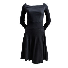 AZZEDINE ALAIA black wool dress with seamed flared skirt