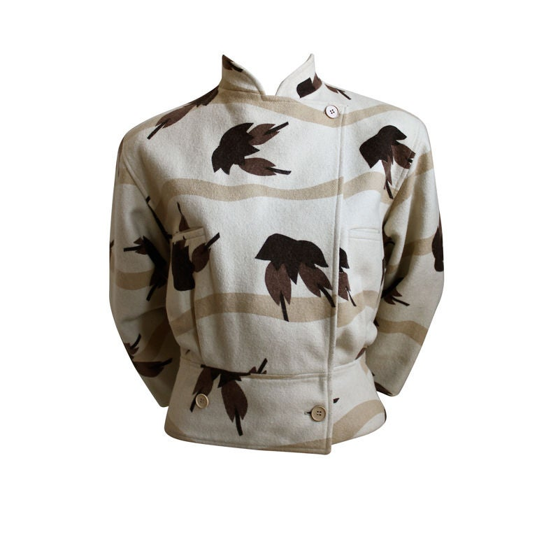 very early ISSEY MIYAKE wool jacket with birds of paradise print 1