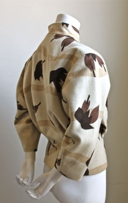 very early ISSEY MIYAKE wool jacket with birds of paradise print 2