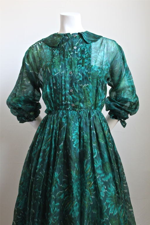 Blue 1950's ANNE FOGARTY emerald green abstract patterned dress For Sale
