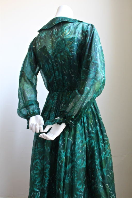 1950's ANNE FOGARTY emerald green abstract patterned dress In Good Condition For Sale In San Fransisco, CA