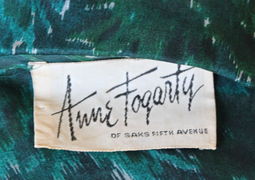 Women's 1950's ANNE FOGARTY emerald green abstract patterned dress For Sale