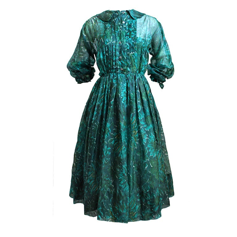 1950's ANNE FOGARTY emerald green abstract patterned dress For Sale