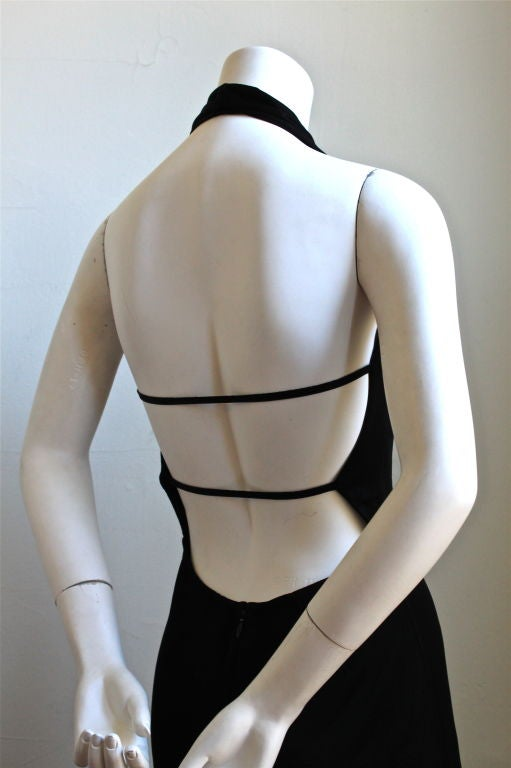 1990's AZZEDINE ALAIA black backless halter dress In Excellent Condition For Sale In San Fransisco, CA