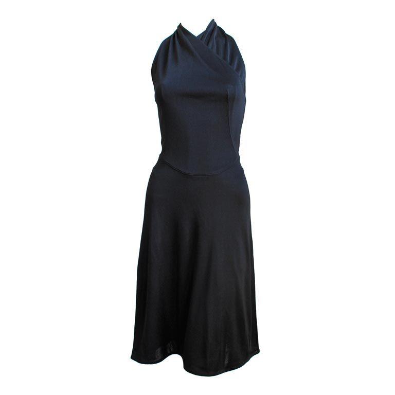 1990's AZZEDINE ALAIA black backless halter dress For Sale